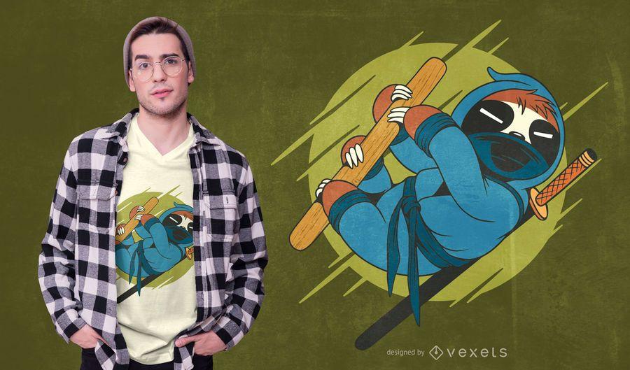 Diseño de camiseta Ninja Sloth