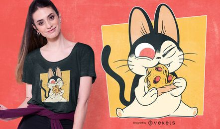 Design de t-shirt de gatinho de pizza