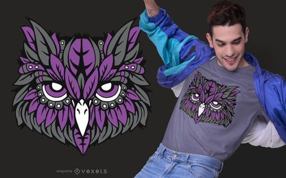 Diseño de camiseta de búho morado