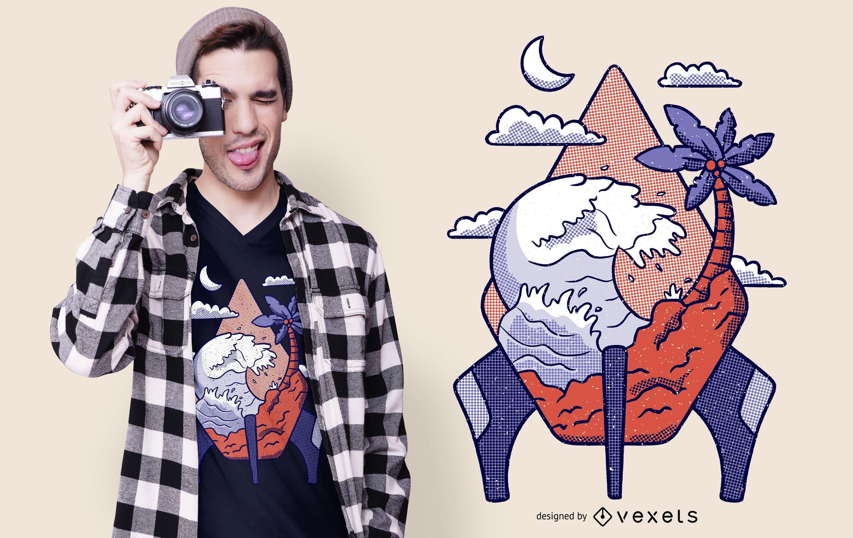 Rocket Island T-shirt Design