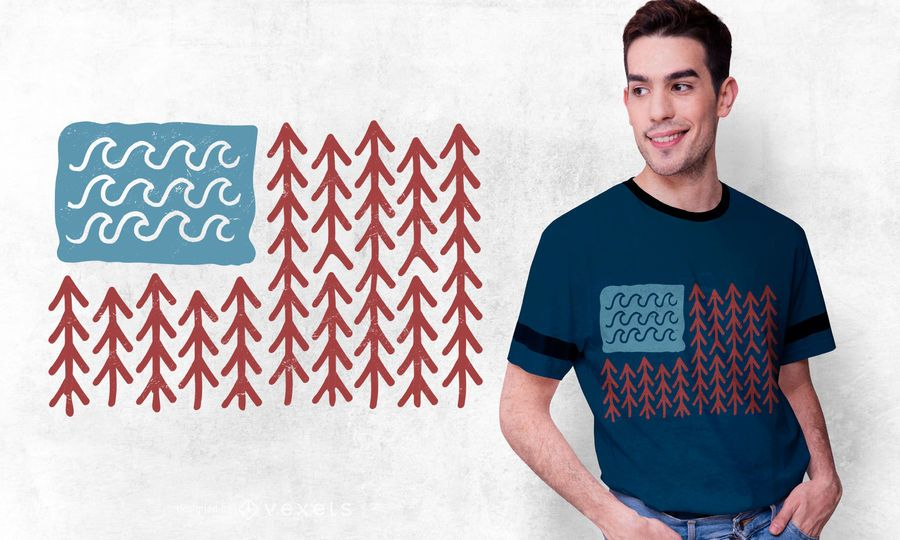 Diseño de camiseta de la bandera de USA Nature