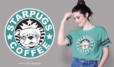 Diseño de camiseta Starpugs Coffee