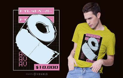Diseño de camiseta de papel higiénico Vaporwave