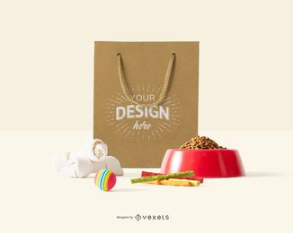 pets paper bag mockup composition
