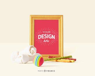 Design de maquete de quadro de brinquedos de cachorro