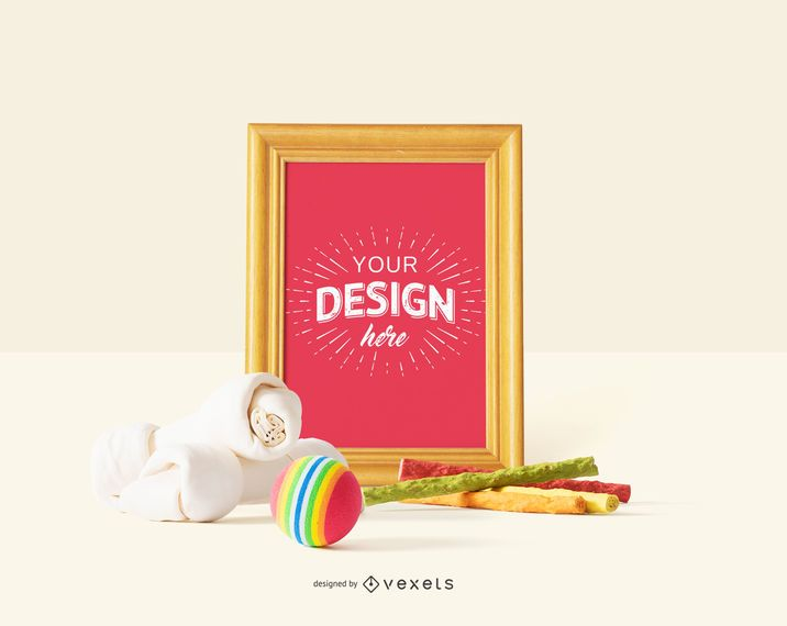 Dog Toys Frame Mockup Design