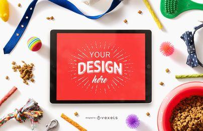 Diseño de maqueta de pantalla de iPad de Pet Elements
