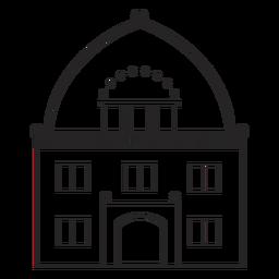 Fantastisches Gebäude gezeichnet