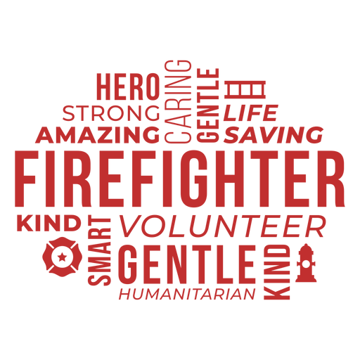 Badge words firefighter Transparent PNG