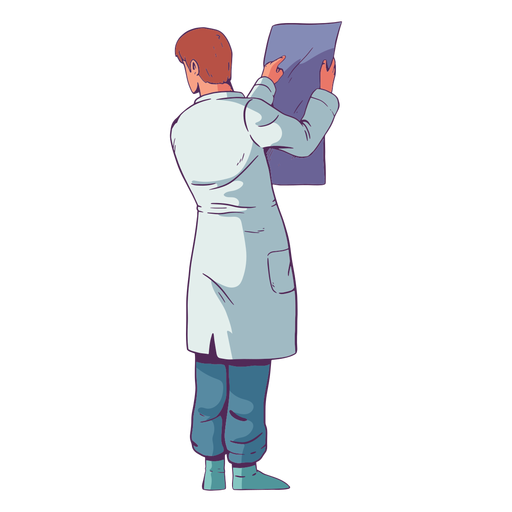 Character doctor looking at results colored