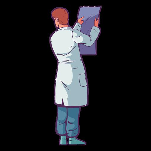 Doctor de carácter mirando resultados coloreados