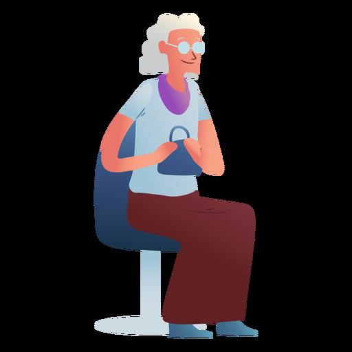 Personaje anciana sentada Transparent PNG