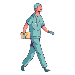 Charakter Lächeln gehender Arzt