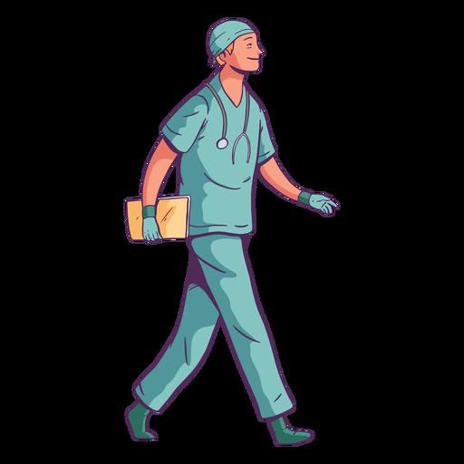 Doctor caminando de sonrisa de carácter