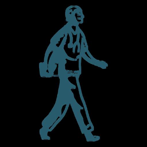 Personaje sonrisa caminando doctor sombra