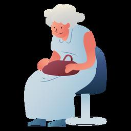 Personaje esperando anciana