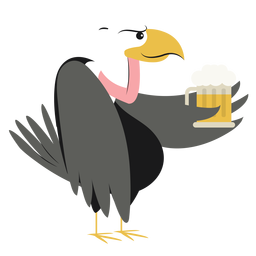 Cool vulture holding beer