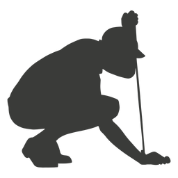 Crouched down golf player silhouette