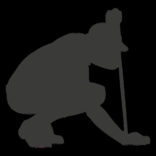 Agachado silhueta de jogador de golfe