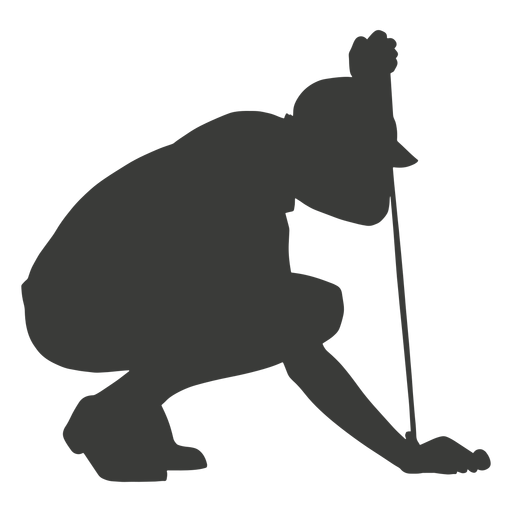 Crouched down golf player silhouette Transparent PNG