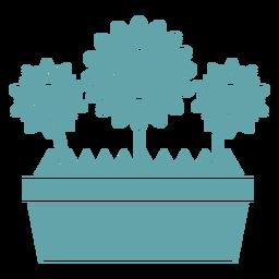 Linda silueta de caja de flores