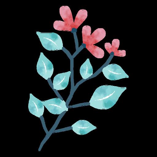 Lindas hojas de flores de acuarela