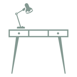 Desk with lamp silhouette