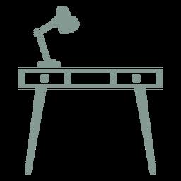Schreibtisch mit Lampensilhouette
