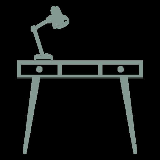 Escritorio con silueta de lámpara