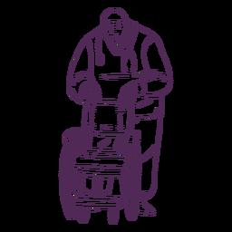 Doctor dibujado a mano con silla de ruedas
