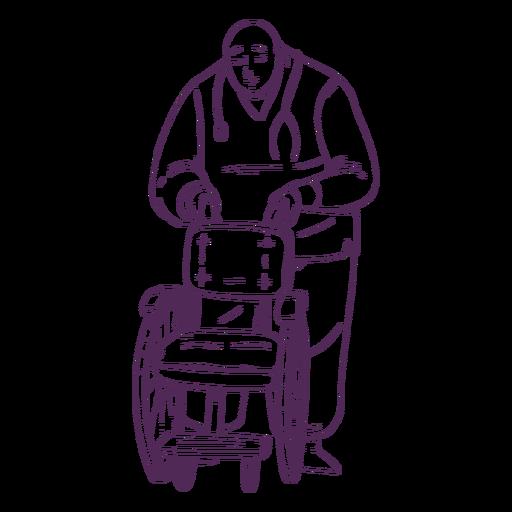 Doctor dibujado a mano con silla de ruedas Transparent PNG