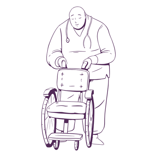 Doctor hand drawn holding wheelchair