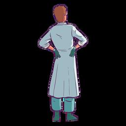 Doctor con las manos en la espalda de color
