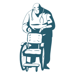 Doctor tenencia silla de ruedas