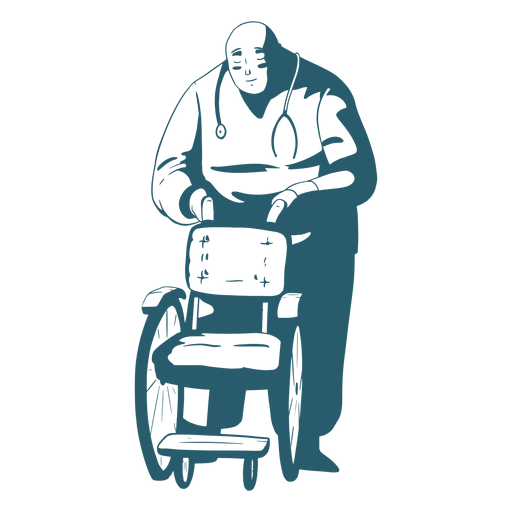 Doctor holding wheelchair