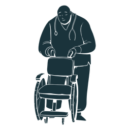 Doctor holding wheelchair silhouette