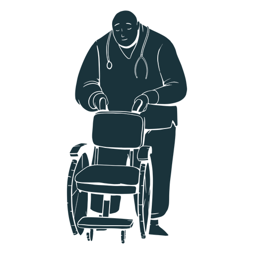Doctor holding wheelchair silhouette Transparent PNG
