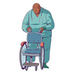 Doctor illustration holding wheelchair