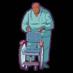 Doctor ilustración sosteniendo silla de ruedas