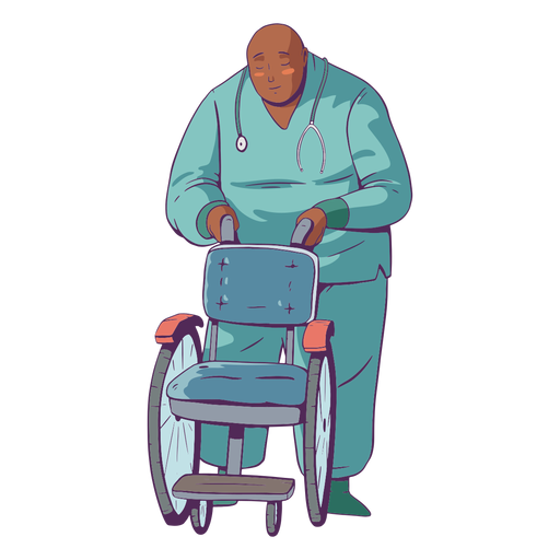 Doctor illustration holding wheelchair Transparent PNG