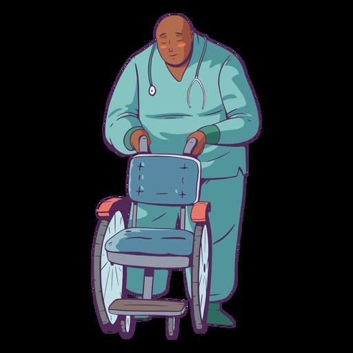 Doctor illustration holding wheelchair