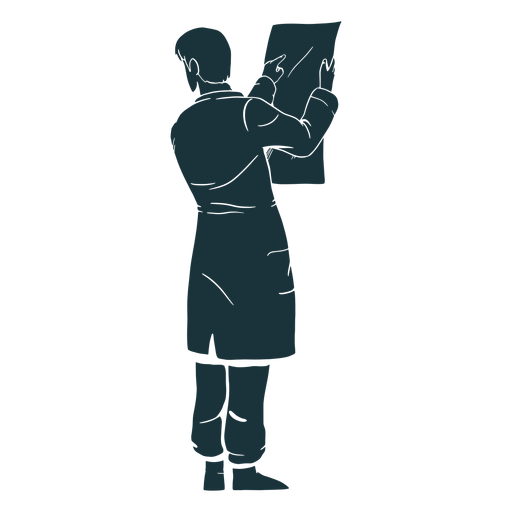 Doctor silhouette looking at results Transparent PNG