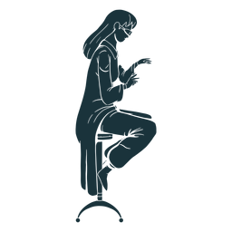 Doctor sitting on stool silhouette