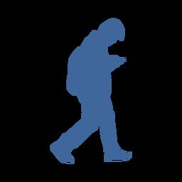 Focused on phone man silhouette