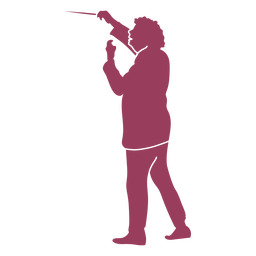 Focused orchestra conductor silhouette
