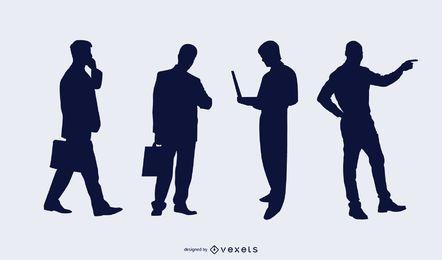 Pacote de silhueta de pessoas de negócios