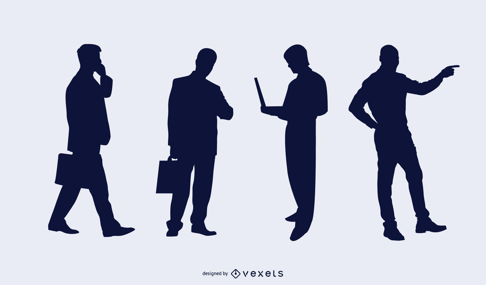 Pack silueta de personas de negocios