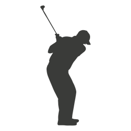 Golf swinging player silhouette