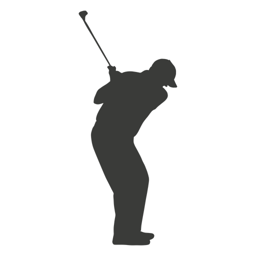 Golf swinging player silhouette Transparent PNG