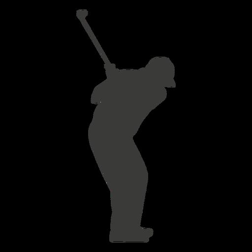 Golf swinging player silhouette